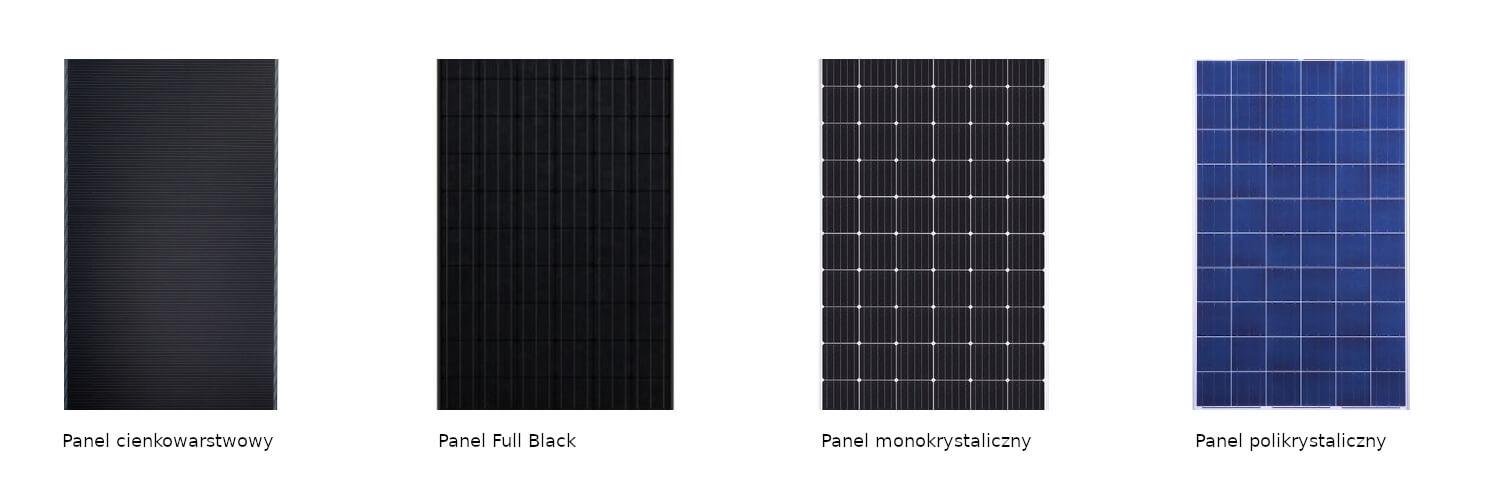 Porównanie ogniw w panelach fotowoltaicznych, różnicę widać w barwie oraz siatce